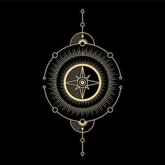 Kompassrichtung sonnenwelle und heilige geometrie für spirituelle führung tarotkartenleser tattoo