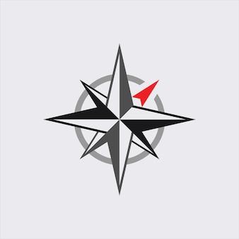 Kompassrichtungsvektorsymbol navigationszeichen reise- und kartengrafikelement