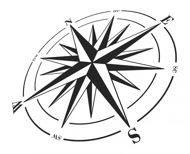 Kompassrose getrennt auf weiß.