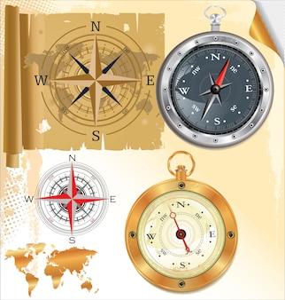 Kompassrose und glänzender kompass, satz