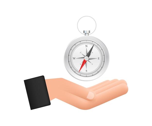Kompasssymbol über händen auf weißem hintergrund flache vektornavigation