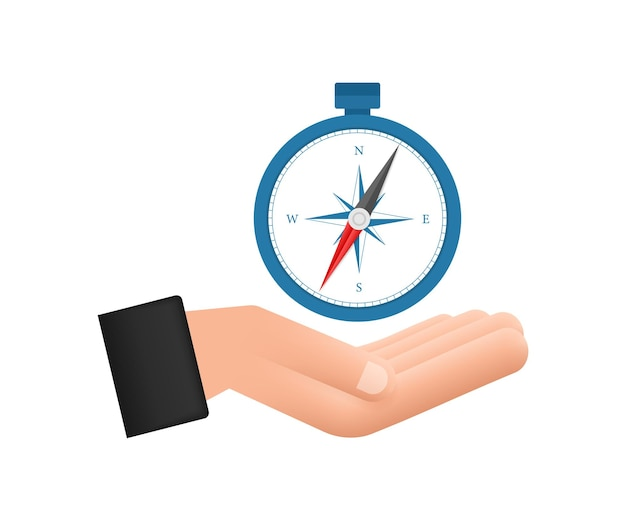 Kompasssymbol über händen auf weißem hintergrund flaches vektornavigationssymbol