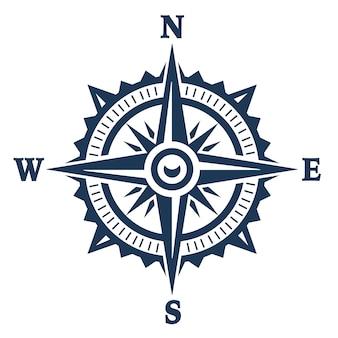 Kompasswindrosenikone lokalisiert auf weiß. vektorillustration.
