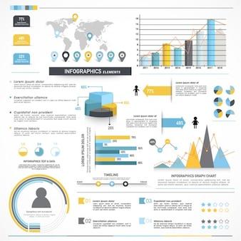Komplette infografiken mit verschiedenen abschnitten