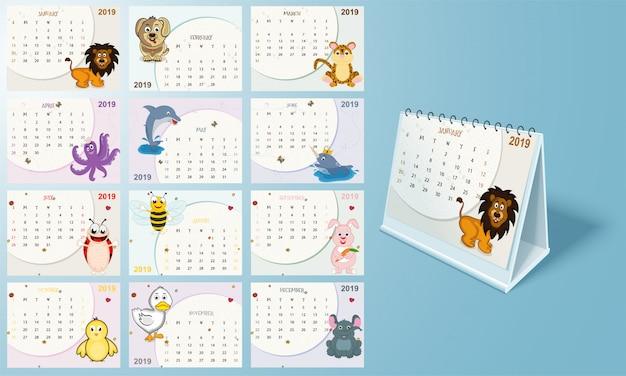 Kompletter satz von 12 monaten, jährliches kalenderdesign für 2019.