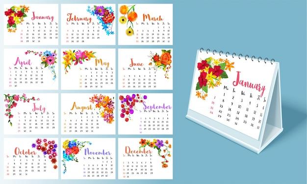 Kompletter satz von 12 monaten, kalender 2018.