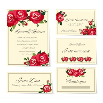 Kompletter satz von hochzeitskartenvorlagen, die einladungskarten abdecken, danke gerade verheirateter namensgedeck und speichern sie das datum, das mit eleganten roten rosen verziert wird, die symbol für liebe und romantik symbolisieren