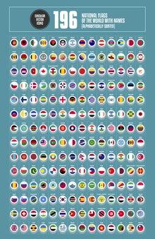 Kompletter satz von kreis-nationalflaggen der welt