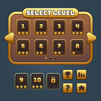 Kompletter satz von level-button-spiel-popups, symbolen, fenstern und elementen