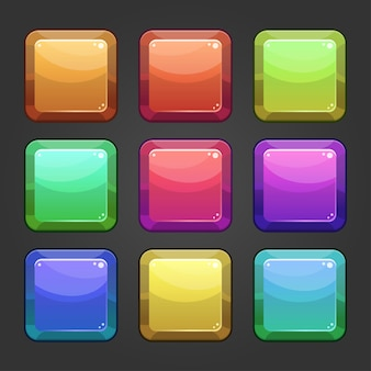 Kompletter satz von level-quadrat-schaltflächen-popups, symbolen, fenstern und elementen