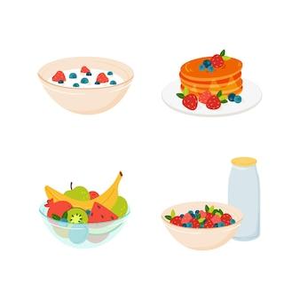 Komplettes frühstück am morgen stellt brei-pfannkuchen und früchte ein vektor-illustration von gesundem essen