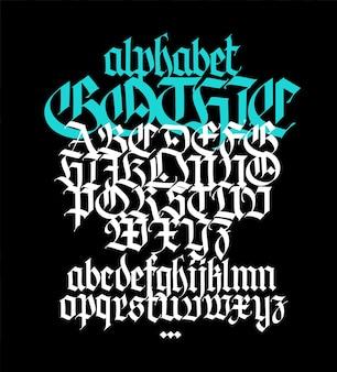 Komplettes gotisches alphabet groß- und kleinbuchstaben auf schwarzem hintergrund