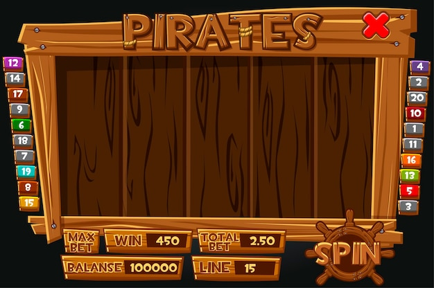 Komplettes interface-piratenmenü für spielautomaten. holzmenü mit symbolen und knöpfen für das spiel.