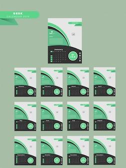 Komplettes set von 12 monaten für 2019 jährlichen wandkalender-design.