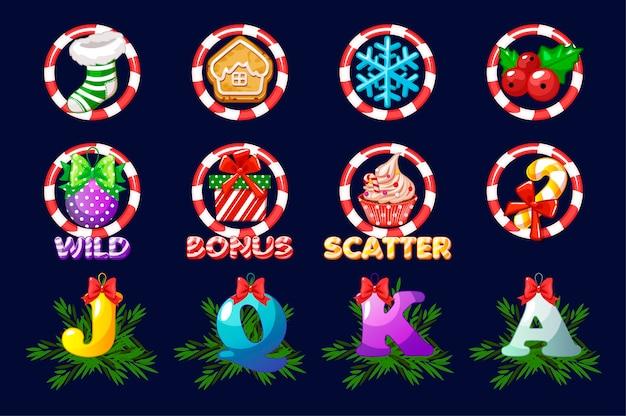 Komplettset weihnachtssymbole für slots. vektorsymbole für casino-slot-spiel auf einer separaten ebene. assets 2d-spiel