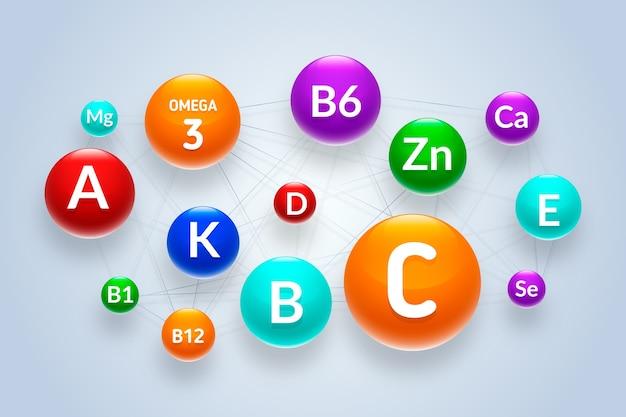 Komplex aus essentiellen vitaminen und mineralstoffen