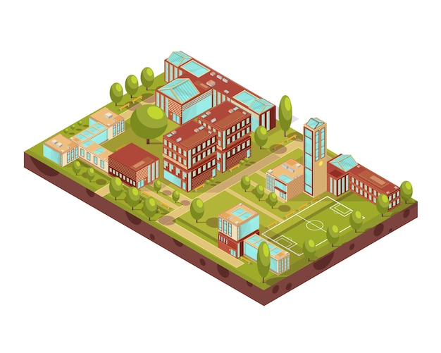Komplex des isometrischen plans der modernen universitätsgebäude mit gehwegen und bänke der fußballplatzgrün-baumvektorillustration