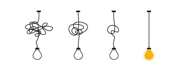 Komplexer komplizierter prozess einfache lösung, einfaches problem, entwirrungsknoten in einfacher linie, einfachster richtiger weg, konzeptvektor der guten idee