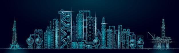 Komplexes panorama-geschäftskonzept der erdölraffinerie. finanzwirtschaft polygonale petrochemische produktionsanlage. erdölindustrie wird pipeline. ökologielösung blau