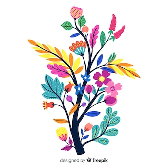 Komposition mit blüten und zweigen