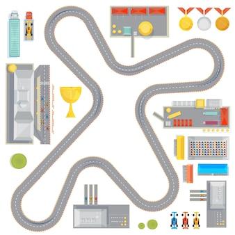 Komposition mit kurvigen rennstrecken-garagen-tankstellen und rennwagenbildern und medaillenikone