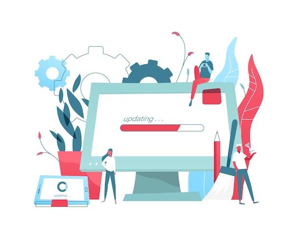 Komposition mit riesigem computerdisplay und tablet-pc mit fortschrittsbalken auf dem bildschirm und winzigen personen