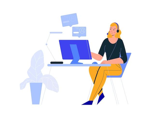 Komposition von büroszenen mit einer frau, die mit profilen am computer sitzt