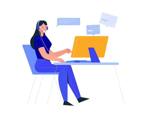 Komposition von büroszenen mit weiblicher angestellter am computertisch mit chat-blasen und profilen