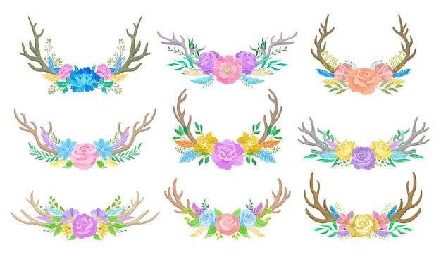 Kompositionen aus bunten blumen, hirschhörnern und zweigen. illustration auf weißem hintergrund.