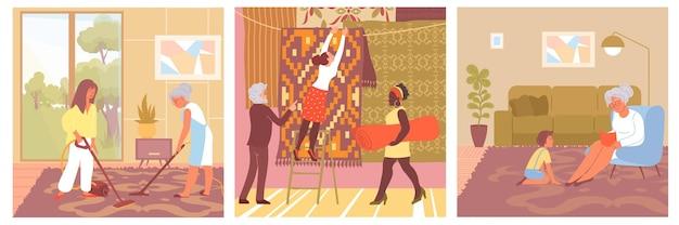 Kompositionsset mit gemusterten teppichen auf böden im wohnzimmer und im laden