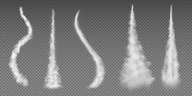 Kondensstreifen im flugzeug. flacher rauchraketenstromeffektflugzeugstrahlwolken-fluggeschwindigkeitsstoß. kondensatleitung für flugzeuge