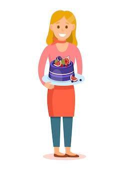Konditor, der geschmackvolle kuchen-zeichentrickfilm-figur hält