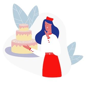 Konditor der jungen frau, der festlichen kuchen darstellt