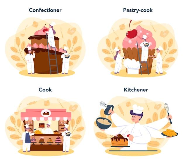 Konditor eingestellt. professioneller konditor. süßer bäcker, der kuchen für urlaub, cupcake, schokoladenbrownie kocht.