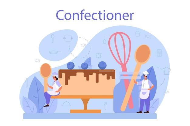 Konditor-konzept. professioneller konditor. süßer bäcker, der kuchen für urlaub, cupcake, schokoladenbrownie kocht. ich