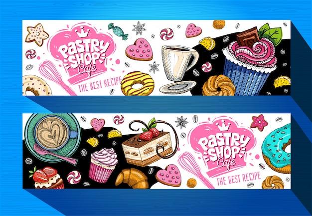 Konditorei café banner vorlage. bunte süßigkeitenetiketten, emblem. schriftzug, design, süß, croissant, süßigkeiten, keks, bunt, spritzer, kaffee, gekritzel, lecker. handgemalt