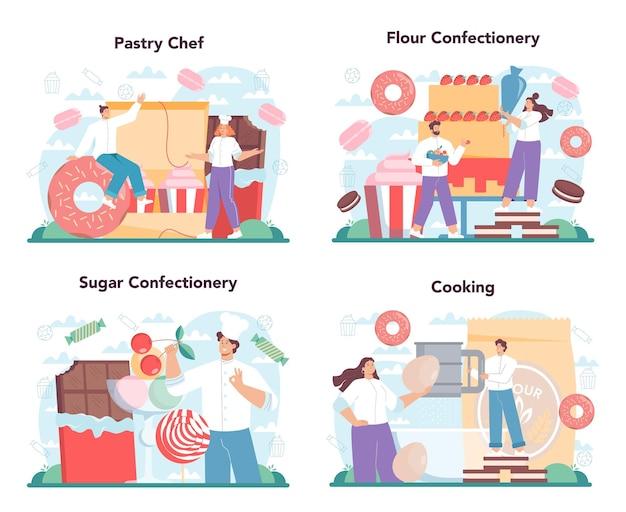 Konditorkonzept eingestellt. professioneller konditor. süßer bäckerkochkuchen für urlaub, cupcake, schokoladenbrownie. isolierte flache vektorillustration