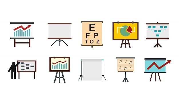 Konferenz banner icon set. flacher satz der konferenzfahnenvektor-ikonensammlung lokalisiert