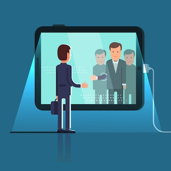Konferenz videoanruf über riesigen tablet-computer