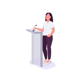 Konferenzpräsentation flacher farbiger gesichtsloser charakter. feministin verteidigt frauenrechte. frauenaktivistin erklärt ihren standpunkt isolierte karikaturillustration für webgrafikdesign und -animation