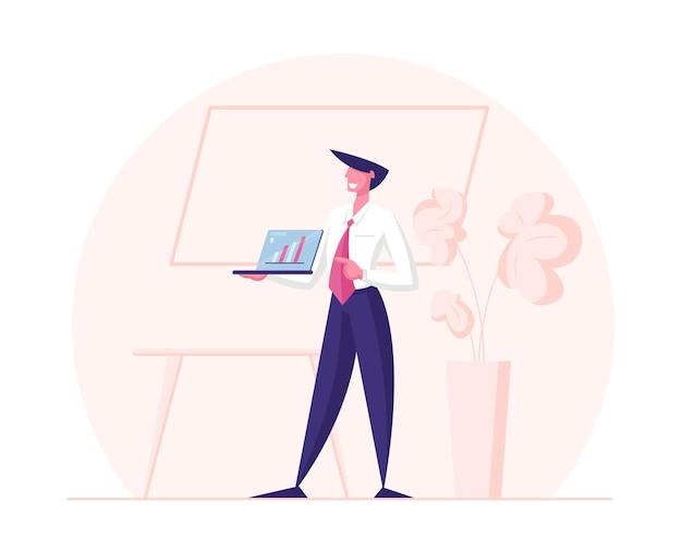 Konferenzraum meeting seminar business trainer charakter, der finanzielle beratung gibt