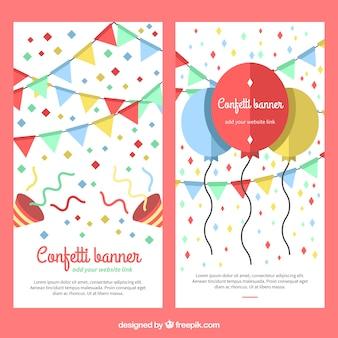 Konfetti banner mit luftballons und girlanden in flachen stil