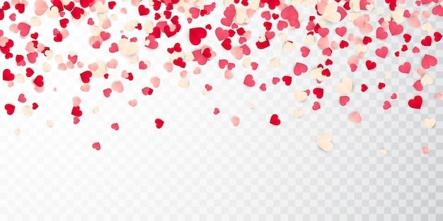 Konfetti der roten, rosa und weißen herzen des valentinstagspapiers.