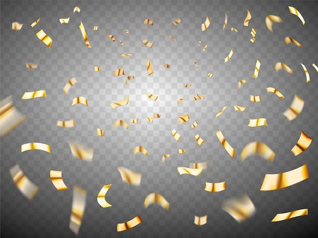 Konfetti-explosion auf transparentem hintergrund. realistische verstreute konfetti aus goldmetall.