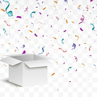 Konfetti fliegt aus der box. überraschung . illustration