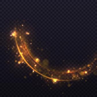 Konfetti glitzernde welle. gelber staub, gelbe funken und goldene sterne leuchten mit besonderem licht.