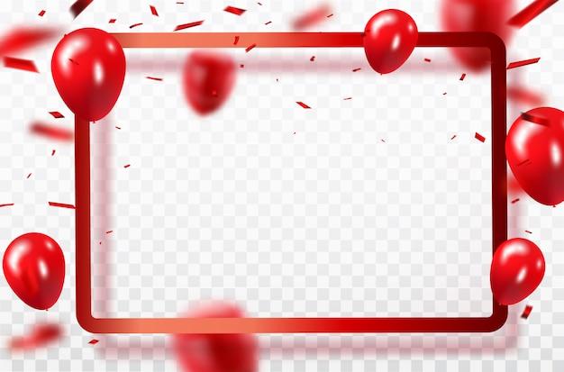 Konfetti-konzeptdesign der roten ballone