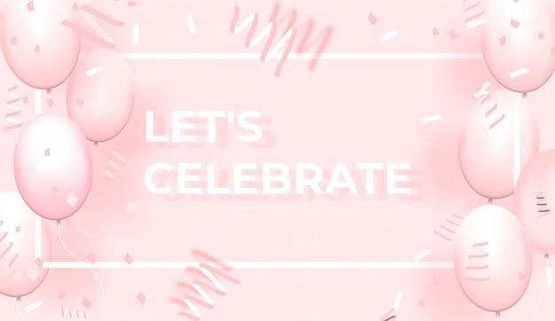 Konfetti mit rosa luftballons und rahmen auf rosa hintergrund