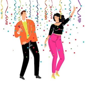 Konfetti-party für unternehmen. trendiges paar der karikatur, das in geschäftskostümen feiert und tanzt, vektorillustrations-lifestyle-konzept mit glücklicher ruhe und weintrinken
