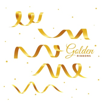 Konfetti-set mit goldenem band 3d